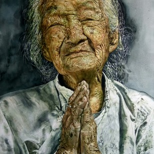 When grace is joined with wrinkles by Uday Bhan, Realism Painting, Watercolor on Paper, Brown color