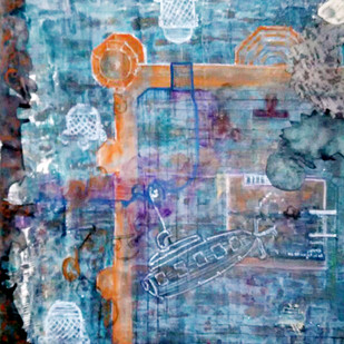 We change during the journey by Krishna Trivedi, Abstract Painting, Mixed Media on Paper, Blue color