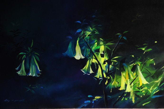 When Munnar blooms by Eby N Joseph , Impressionism Painting, Acrylic on Canvas, Blue color