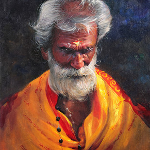 Messenger of God by Eby N Joseph , Expressionism Painting, Acrylic on Canvas, Brown color