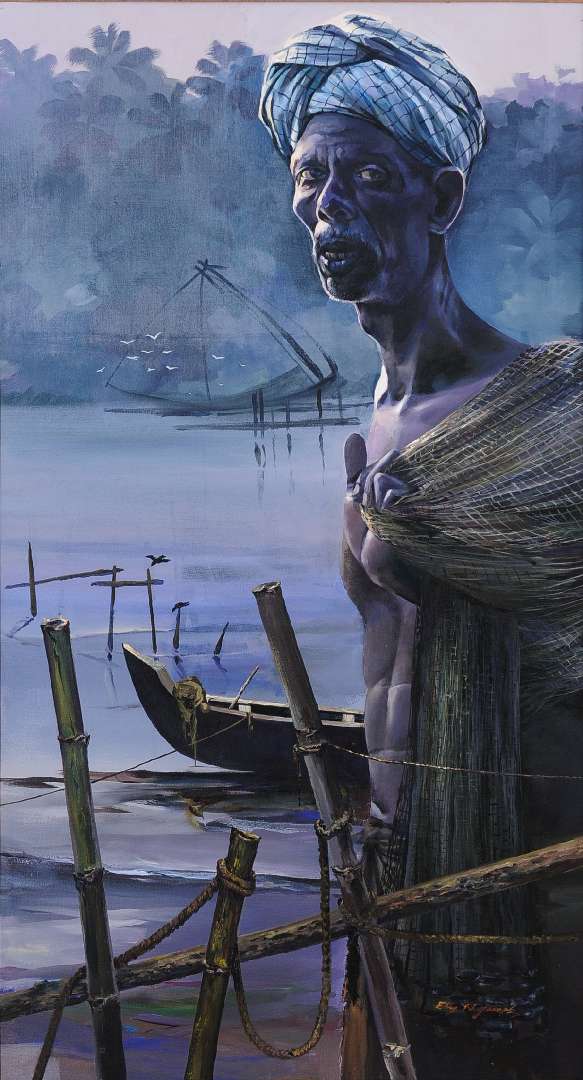 Fisherman 2 by Eby N Joseph , Expressionism Painting, Acrylic on Canvas, Blue color