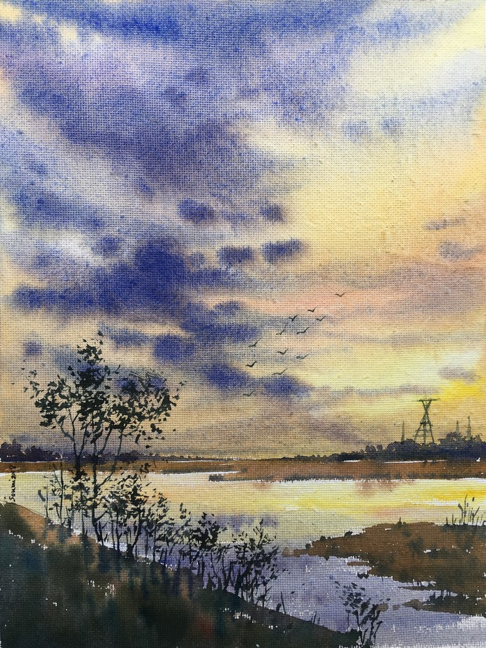 End of the day by SOUMI JANA, Impressionism Painting, Watercolor on Paper, Beige color