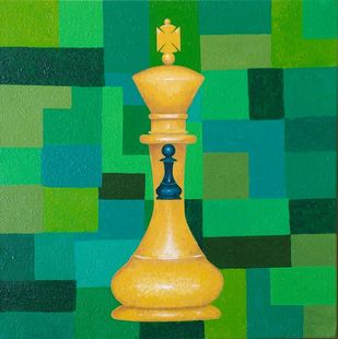 King of Greens by Swati Joshi Phatak, Expressionism Painting, Acrylic on Canvas, Green color