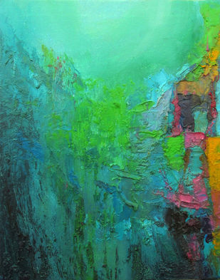 Green Depth III by Abhishek Kumar, Abstract Painting, Oil on Canvas, Green color