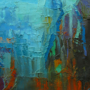 Blue Innocence by Abhishek Kumar, Abstract Painting, Oil on Canvas, Green color
