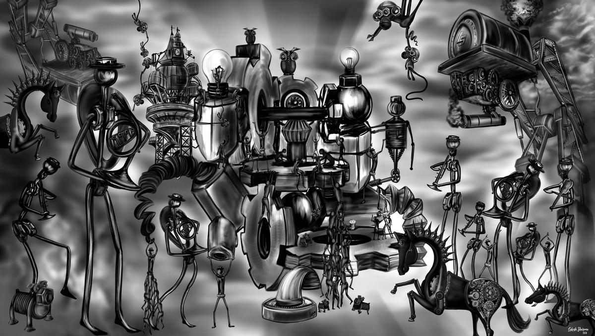 Doodle Mechanized World by Lokesh Sharma, Digital Digital Art, Digital Print on Paper, Gray color