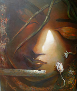 MUSICIAN by Subrata Ghosh, Expressionism Painting, Acrylic on Canvas, Brown color