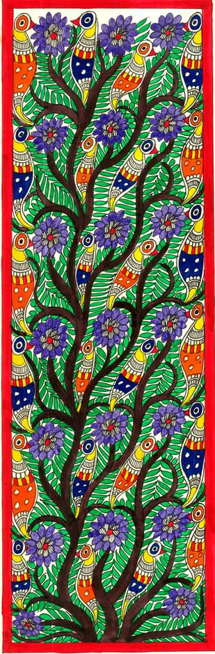 Tree of Life by Unknown Artist, Folk Drawing, Acrylic & Ink on Paper, Green color