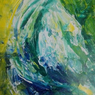 The jewel by Broti Ganguly, Abstract Painting, Acrylic on Canvas, Green color