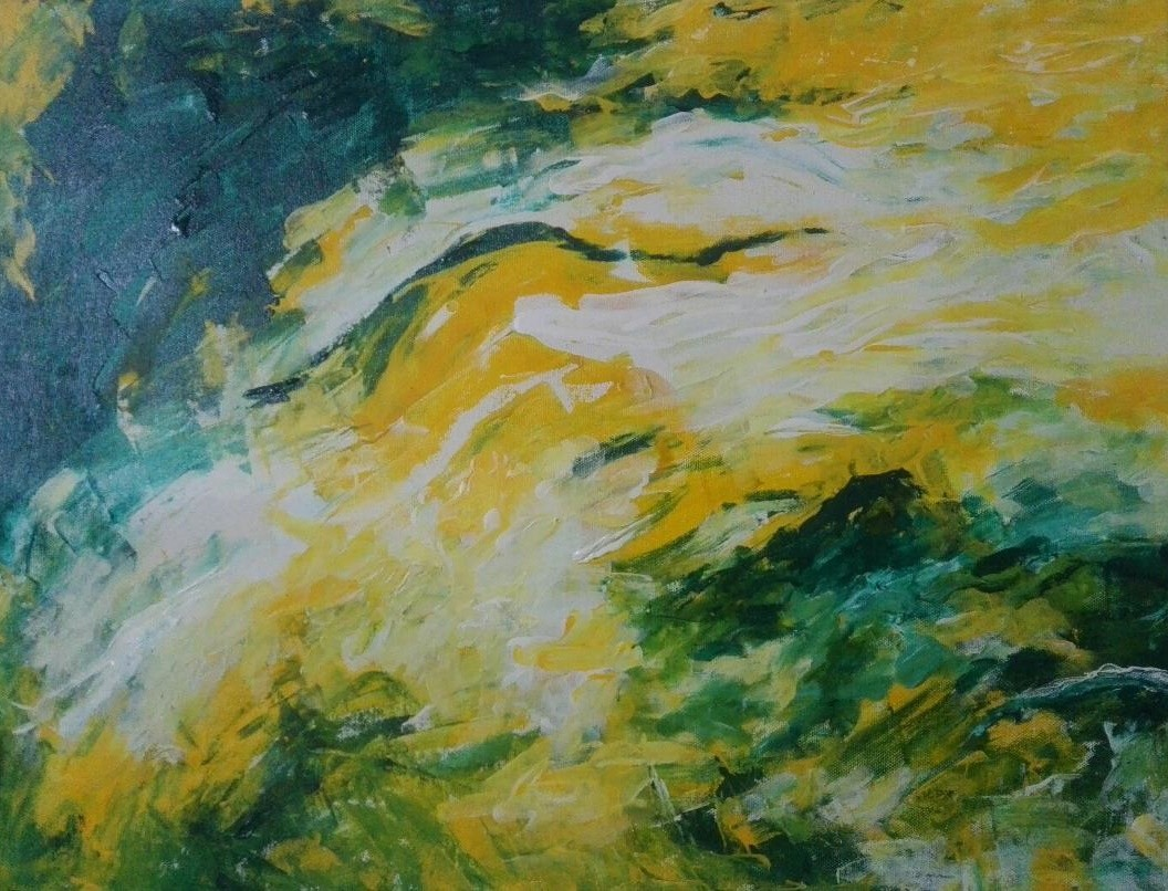 Dreams of Green by Broti Ganguly, Abstract Painting, Acrylic on Canvas, Green color