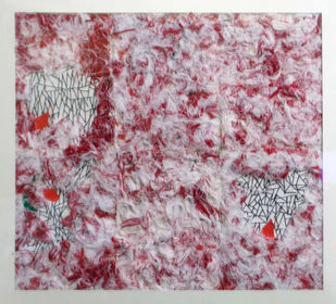 A Poem of Thread by Aditi Chakravarty, Abstract Painting, Mixed Media on Paper, Brown color