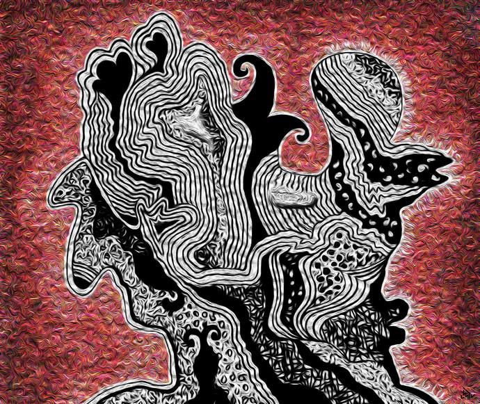 MINDSCAPE (1) by Pradip Sarkar, Digital Digital Art, Digital Print on Canvas, Brown color