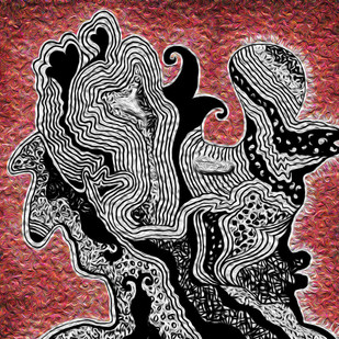 MINDSCAPE (1) by Pradip Sarkar, Digital Digital Art, Digital Print on Canvas, Brown color
