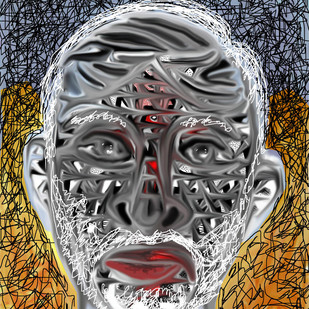 PORTRAIT OF A COMMON MAN by Pradip Sarkar, Digital Digital Art, Digital Print on Canvas, Gray color