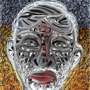 PORTRAIT OF A COMMON MAN by Pradip Sarkar, Digital Digital Art, Digital Print on Canvas, Gray color
