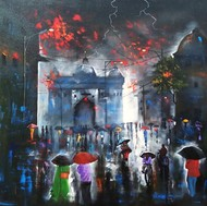 Rainy day 8 by Arjun das, Impressionism Painting, Acrylic on Canvas, Green color