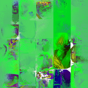 Untitled 004 by Sunil Balkawade, Abstract Painting, Mixed Media on Canvas, Green color