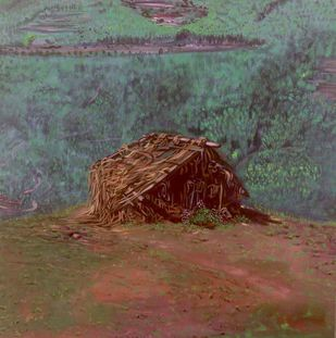 The Shed by AJI KUMAR.R, Expressionism Painting, Acrylic on Canvas, Brown color