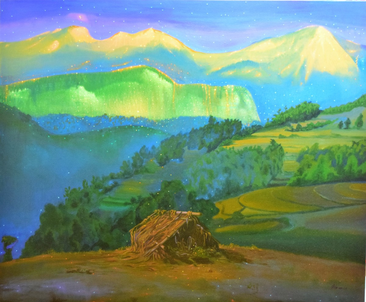 SOUND OF SILENCE by AJI KUMAR.R, Impressionism Painting, Acrylic on Canvas, Green color