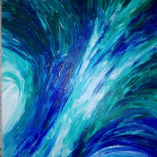 Universe Dissolved - finger printing by Broti Ganguly, Abstract Painting, Acrylic on Canvas, Blue color