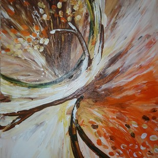 Temper - finger printing by Broti Ganguly, Abstract Painting, Acrylic on Canvas, Brown color
