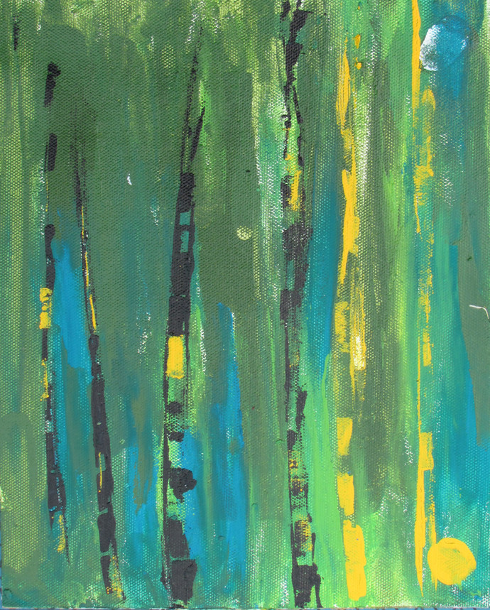 Stay Hidden - finger printing by Broti Ganguly, Abstract Painting, Acrylic on Canvas, Green color