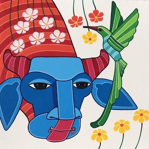 untitled by Thota Laxminarayana, Traditional Painting, Acrylic on Canvas, Blue color