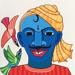untitled by Thota Laxminarayana, Traditional Painting, Acrylic on Canvas, Beige color
