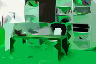 Untitled 028 by Sunil Balkawade, Abstract Painting, Mixed Media on Canvas, Green color