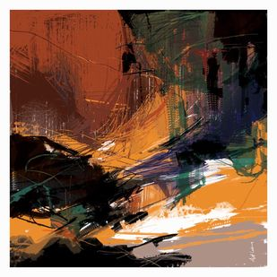 Untitled-RA by Ajit Lakra, Abstract Digital Art, Digital Print on Canvas, Brown color