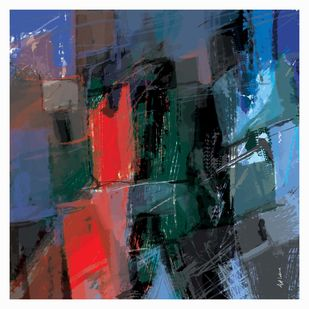 Untitled-RR by Ajit Lakra, Abstract Digital Art, Digital Print on Canvas, Blue color