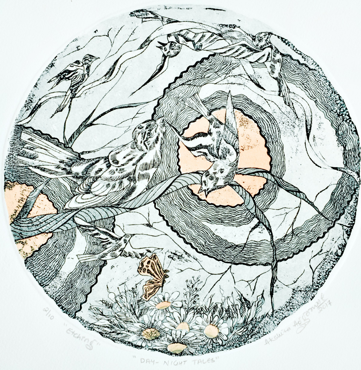 Day-Night Tales by Akshita Aggarwal, Illustration Painting, Etching on Paper, Gray color