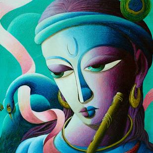 Lord Sri krishna Digital Print by Dhananjay Mukherjee,Decorative