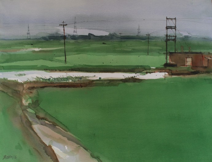 Enter the green landscape revolution by Prashant Prabhu, Impressionism Painting, Watercolor on Paper, Green color