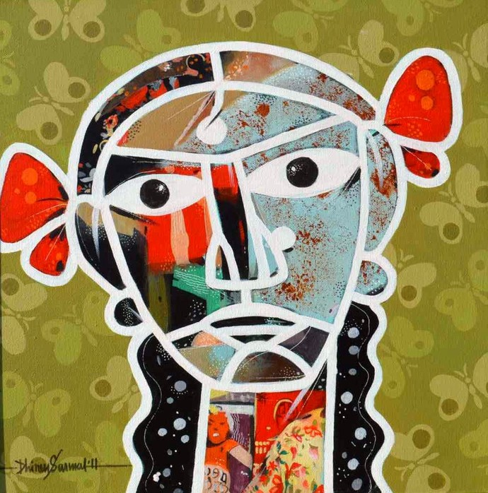 Girl, deconstructed by Dhiren Sasmal, Expressionism Painting, Acrylic on Canvas, Green color