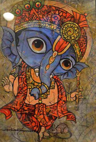 Bal Ganesha by Dhiren Sasmal, Expressionism Painting, Mixed Media on Canvas, Brown color