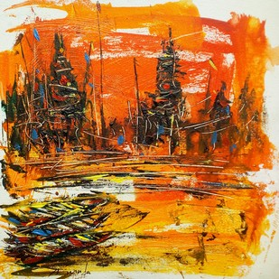 Varanasi II by Ananda Das, Expressionism Painting, Acrylic on Canvas, Brown color