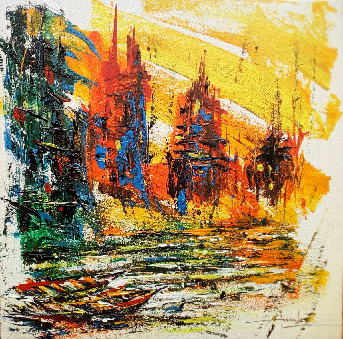 Varanasi III by Ananda Das, Abstract Painting, Acrylic on Canvas, Beige color