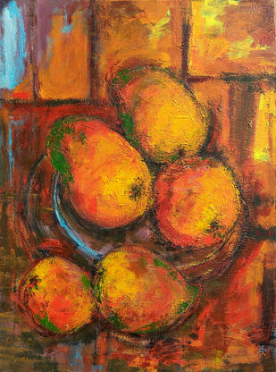 Indian Summer-V: Still Life with Aam (Mangoes) by Animesh Roy, Expressionism Painting, Acrylic on Canvas, Brown color