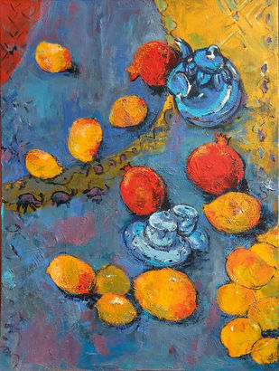 Indian Summer-I: Still Life with Mangoes​, Pomegranate & Tea Pot Digital Print by Animesh Roy,Expressionism