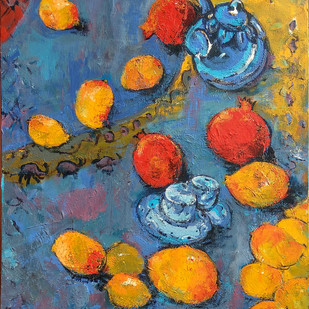 Indian Summer-I: Still Life with Mangoes​, Pomegranate & Tea Pot by Animesh Roy, Expressionism Painting, Acrylic on Canvas, Brown color