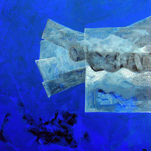 Encounter III by Prabin Kumar Nath, Conceptual Painting, Acrylic on Canvas, Blue color