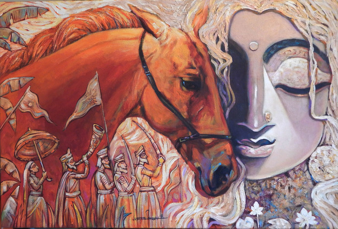 WARRIOR-III by Subrata Ghosh, Expressionism Painting, Acrylic on Canvas, Brown color