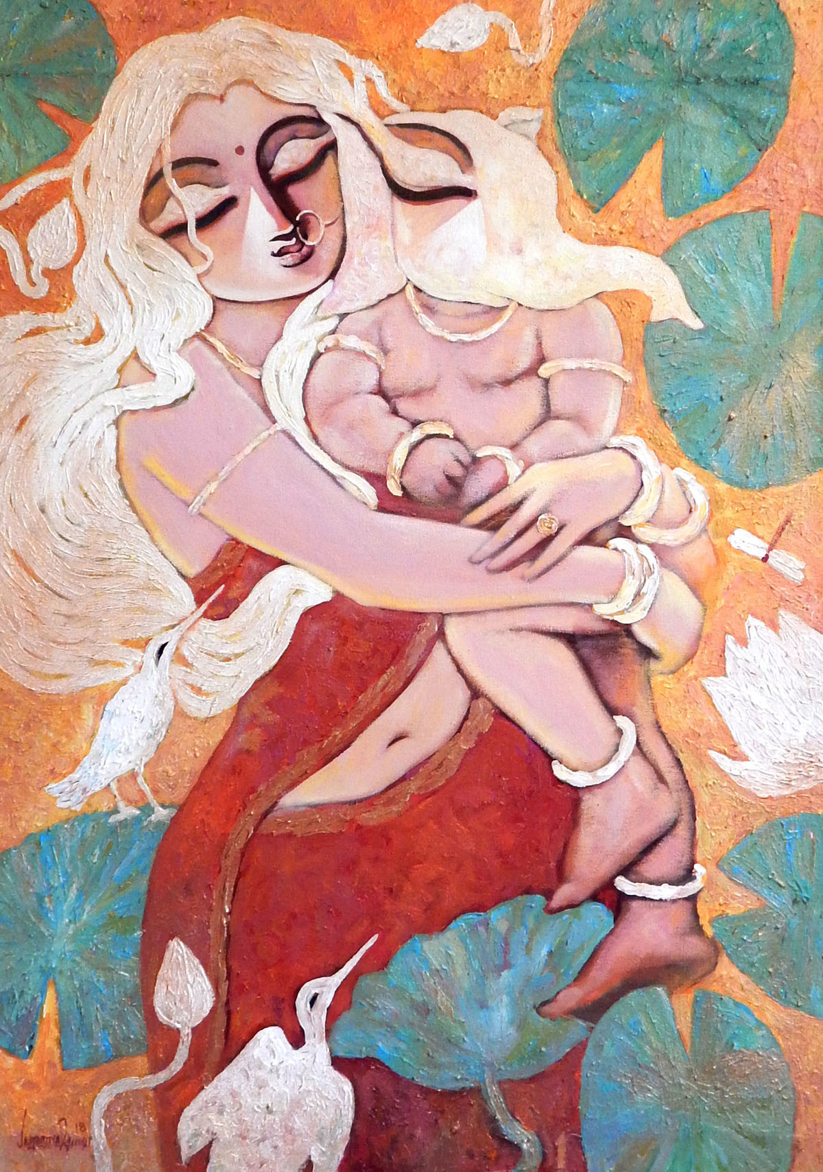 PARVATINANDAN by Subrata Ghosh, Expressionism Painting, Acrylic on Canvas, Pink color