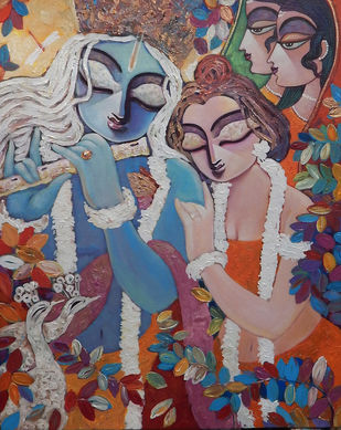 SILENT LOVE by Subrata Ghosh, Expressionism Painting, Acrylic on Canvas, Brown color