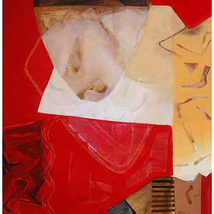 Searching Ego by Prabin Kumar Nath, Abstract Painting, Acrylic on Canvas, Red color