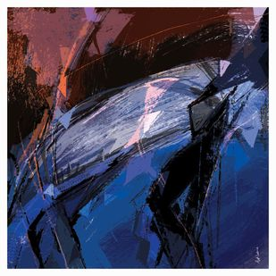 Untitled-RA02 by Ajit Lakra, Abstract Digital Art, Digital Print on Canvas, Blue color
