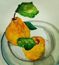 Two pears by Rupinder kaur, Expressionism Painting, Watercolor on Paper, Beige color