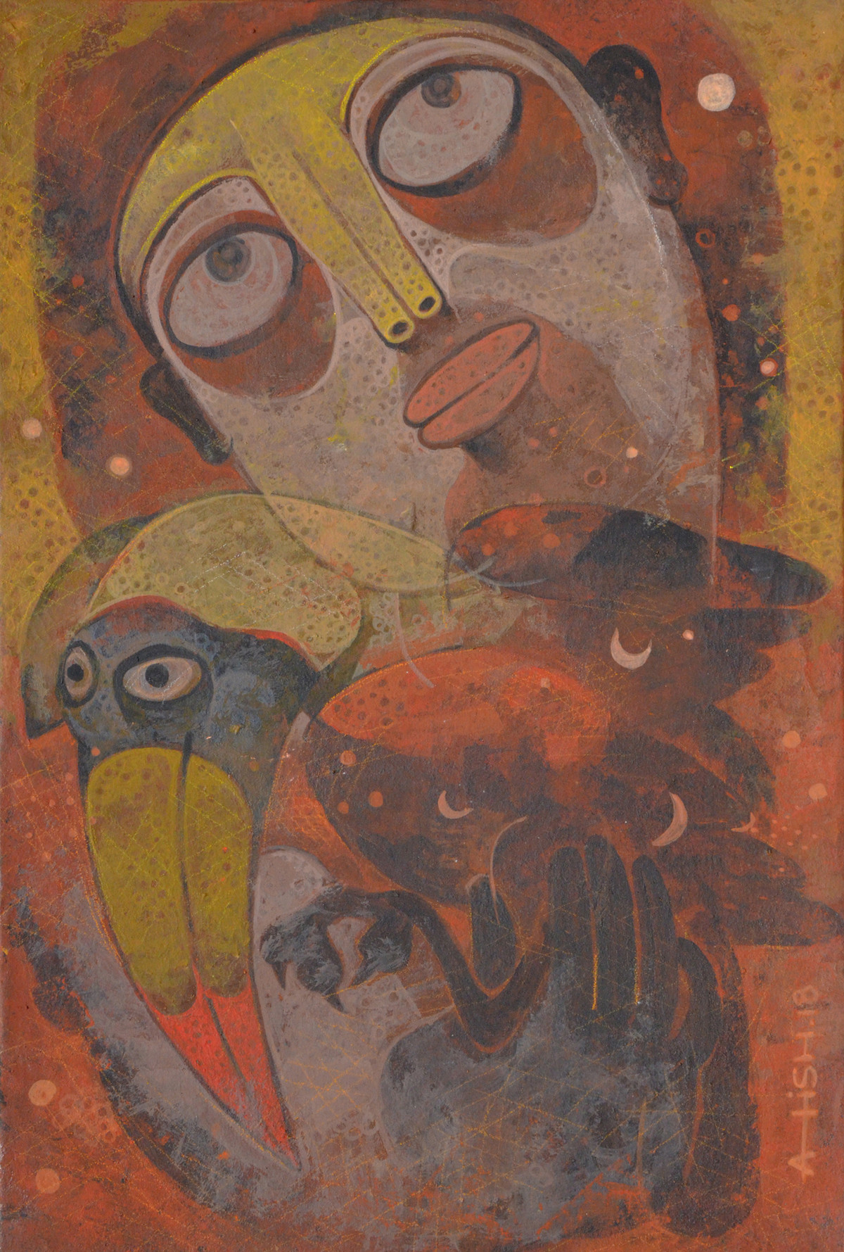 Untold story 01 by Atish Mukherjee, Expressionism Painting, Tempera on Canvas Board, Brown color