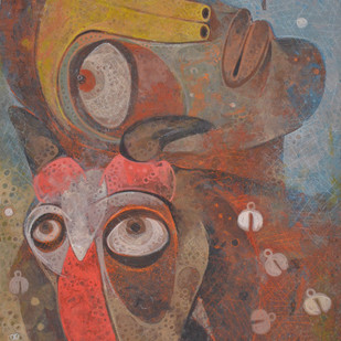 Untold story 02 by Atish Mukherjee, Expressionism Painting, Tempera on Canvas Board, Brown color